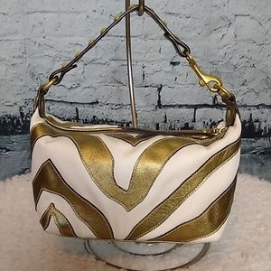 Coach Gold & White Zebra Print Mini Bag
